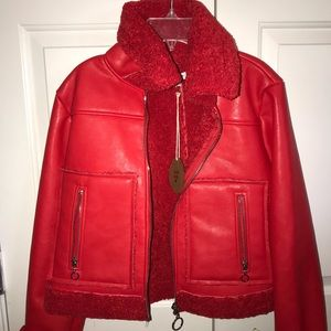 Red Leather Jacket with Sherpa Lining